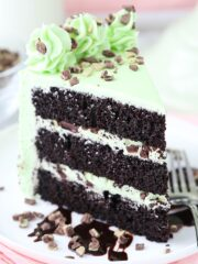 close up image of Mint Chocolate Chip Layer Cake slice