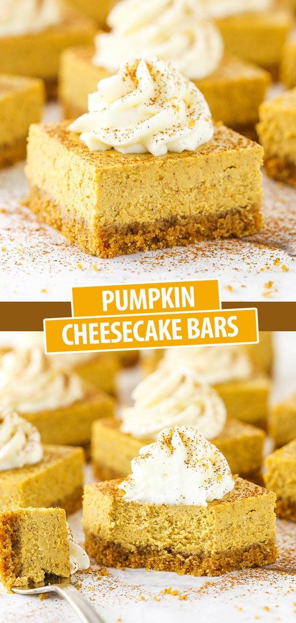 Una barretta di cheesecake alla zucca e un'altra con un boccone