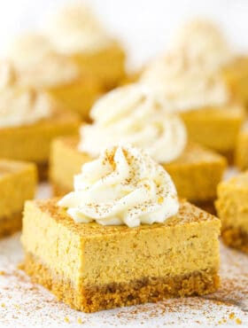 Pumpkin Cheesecake Bars in rows on table