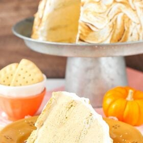 image of No Bake Pumpkin Spice Baked Alaska on plate