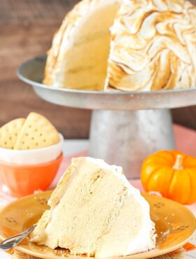 image of No Bake Pumpkin Spice Baked Alaska on plate