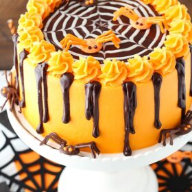 Spiderweb Chocolate Cake with Vanilla Frosting on white cake stand