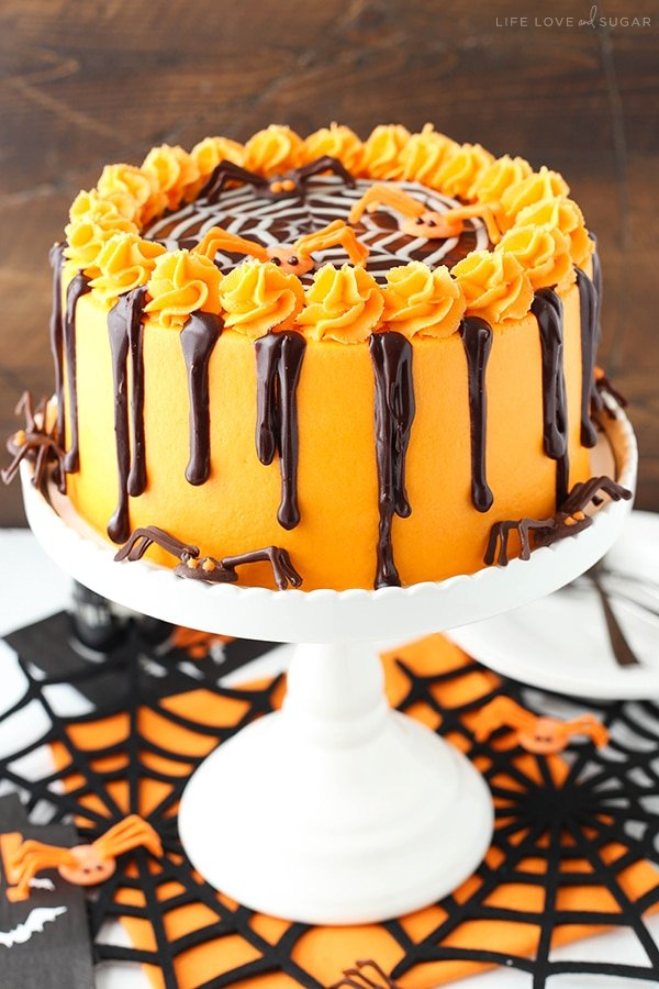 Homemade Halloween Spiderweb Chocolate Cake recipe