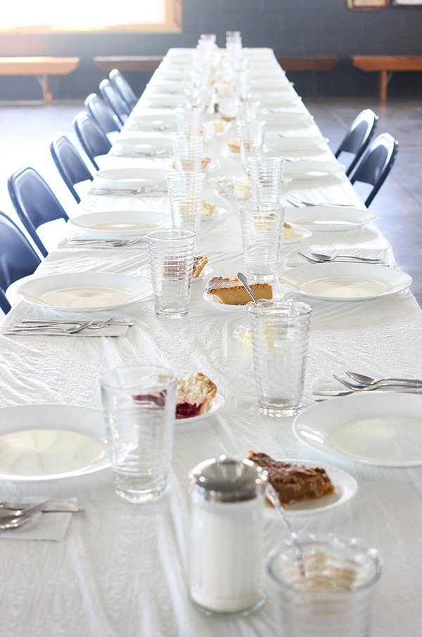 The Tablescape at Clardale Farms with Slices of Pie on the Table