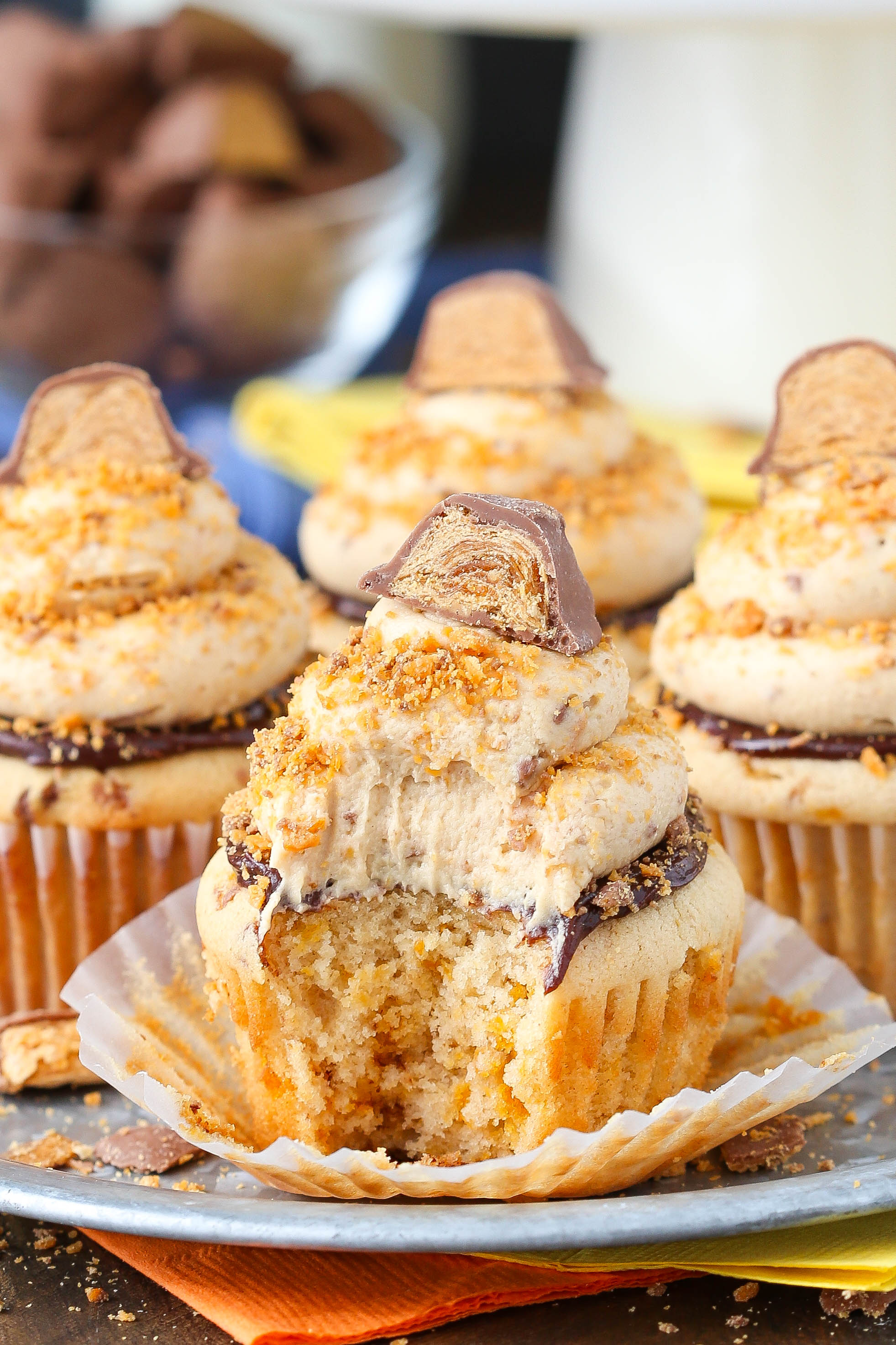 Butterfinger Cupcake with bite taken out