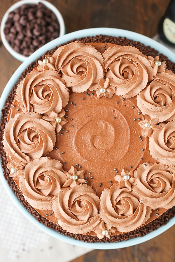 Guinness Chocolate Mousse Cake overhead view