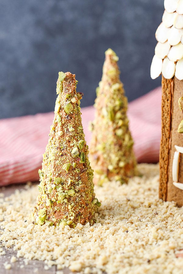 Trees made out of ice cream cones and nuts