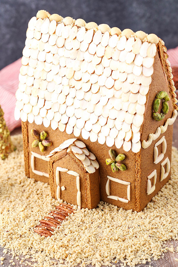 Top view of the roof made of nuts on a gingerbread house