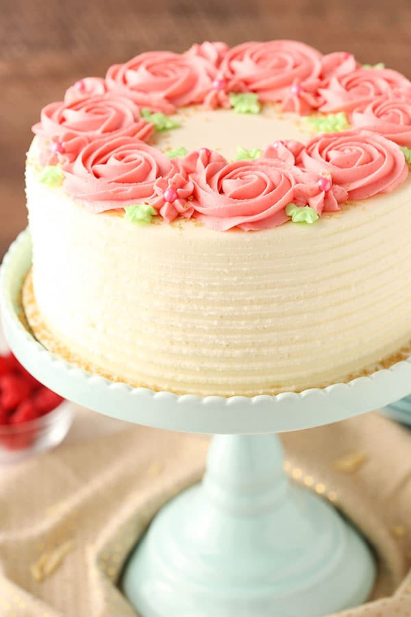 Raspberry Almond Layer Cake with fresh raspberry frosting!