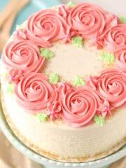 overhead image of Raspberry Almond Layer Cake