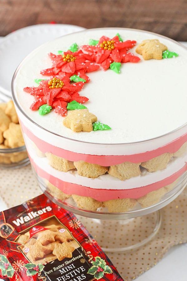 Red Velvet Shortbread Trifle holiday dessert