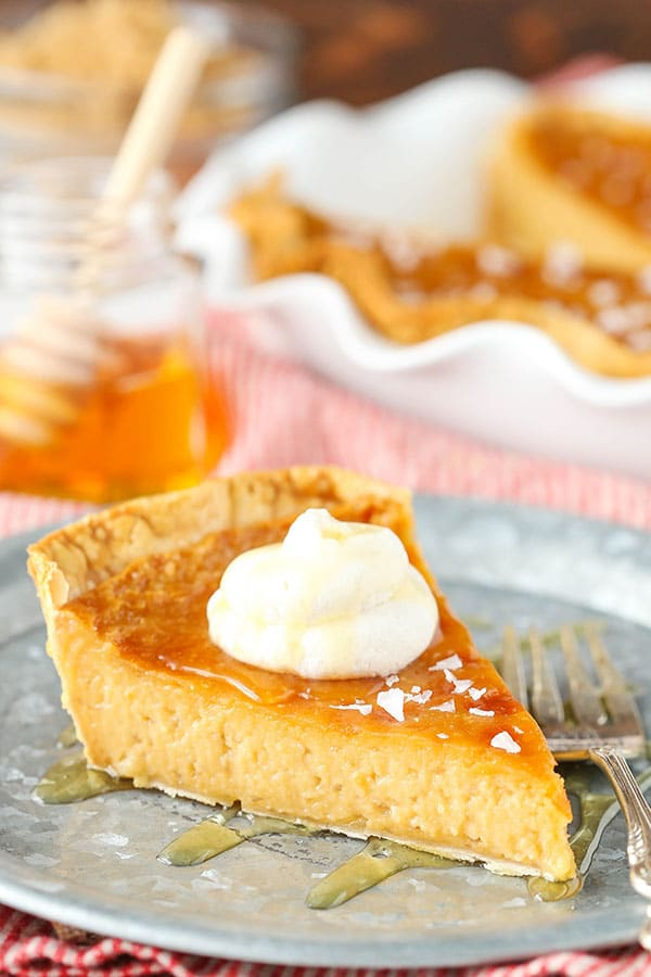 Salted Honey Pie - An easy custard pie that tastes like caramel and honey! So good!
