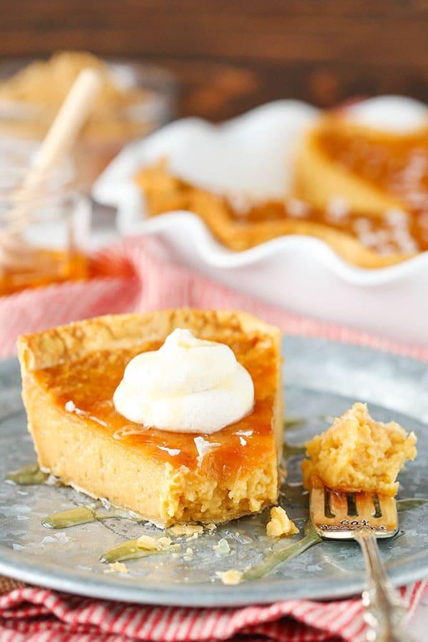 Salted Honey Pie - An easy custard pie that tastes like caramel and honey! So good!