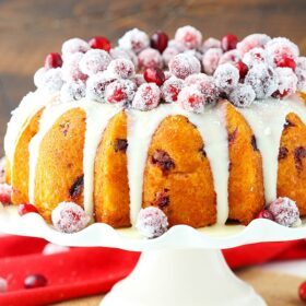 Picture of cranberry bundt cake with sparkling cranberries