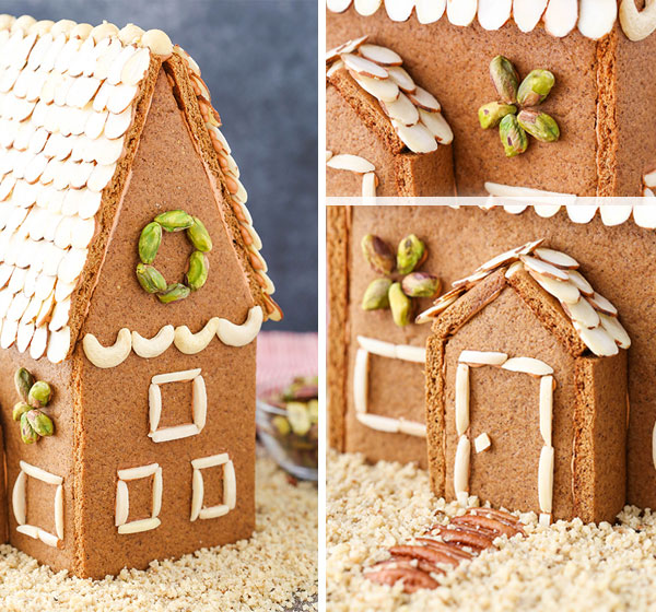 Close up photos of different parts of the gingerbread house