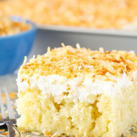 slice of Coconut Poke Cake
