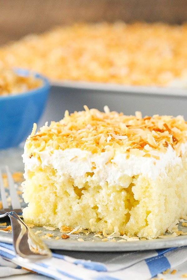 Coconut Cake With Condensed Milk And Cream Of Coconut