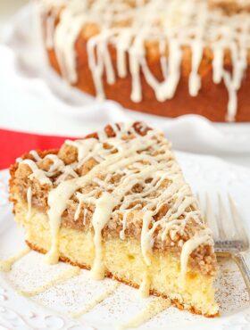 image of slice of Eggnog Crumb Cake