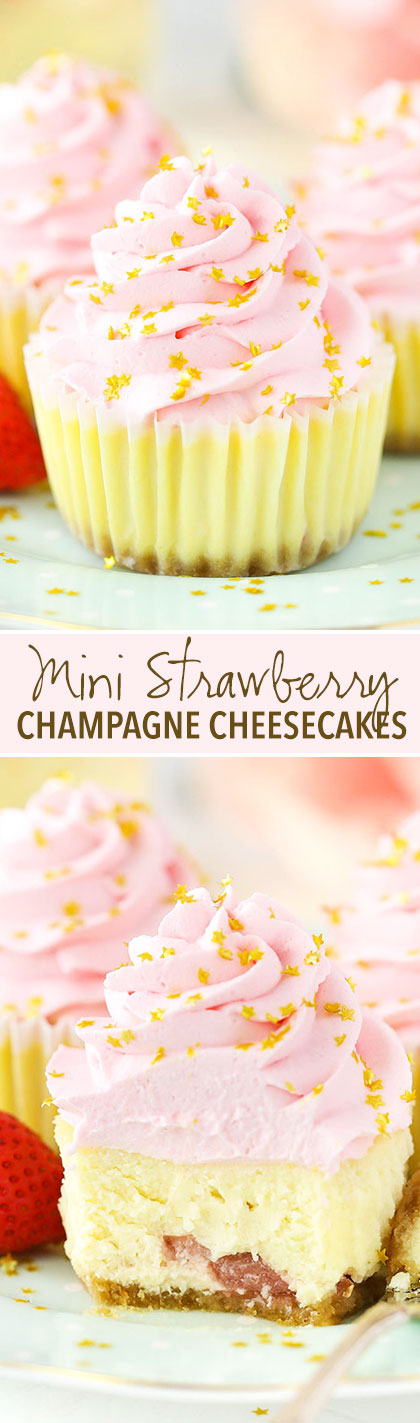 Mini Strawberry Champagne Cheesecakes - lots of champagne and strawberry flavor! Perfect for New Years Eve!