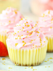 close up of Mini Strawberry Champagne Cheesecakes