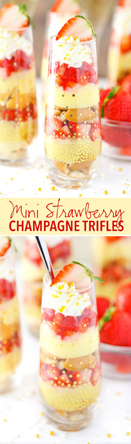 Mini Strawberry Champagne Trifle - layers of champagne custard, cookies and strawberries! SO good!