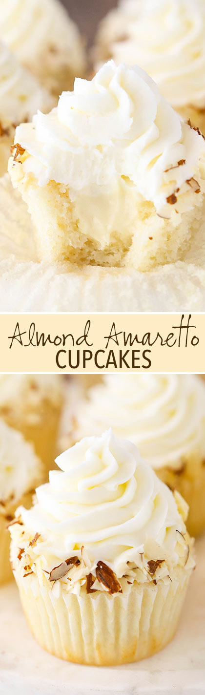 Almond Amaretto Cupcakes - almond cupcakes and frosting with a whipped ...