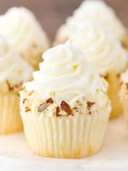 close up image of Almond Amaretto Cupcake