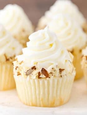 close up image of Almond Amaretto Cupcake