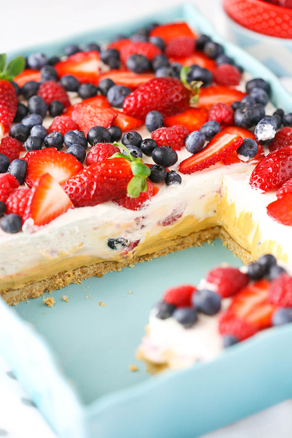 Image of a Berries and Cream Layer Dessert in a Pan