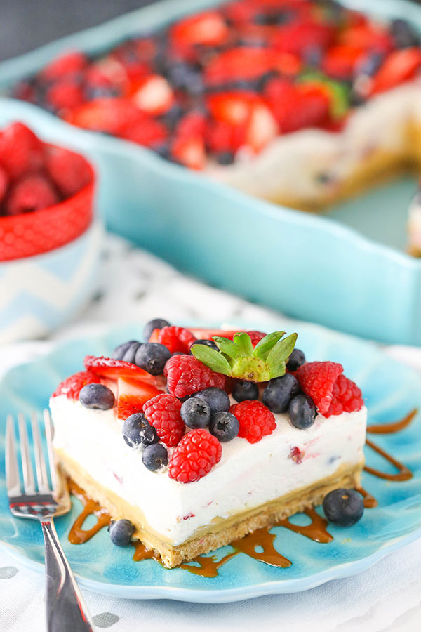 Berries and Cream Layer Dessert with Dulce de Leche! So light, fruity and delicious!