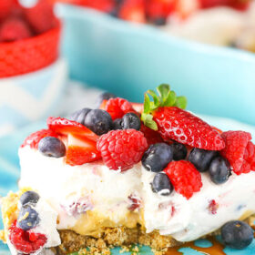 Image of a Slice of Berries and Cream Layer Dessert with Dulce de Leche