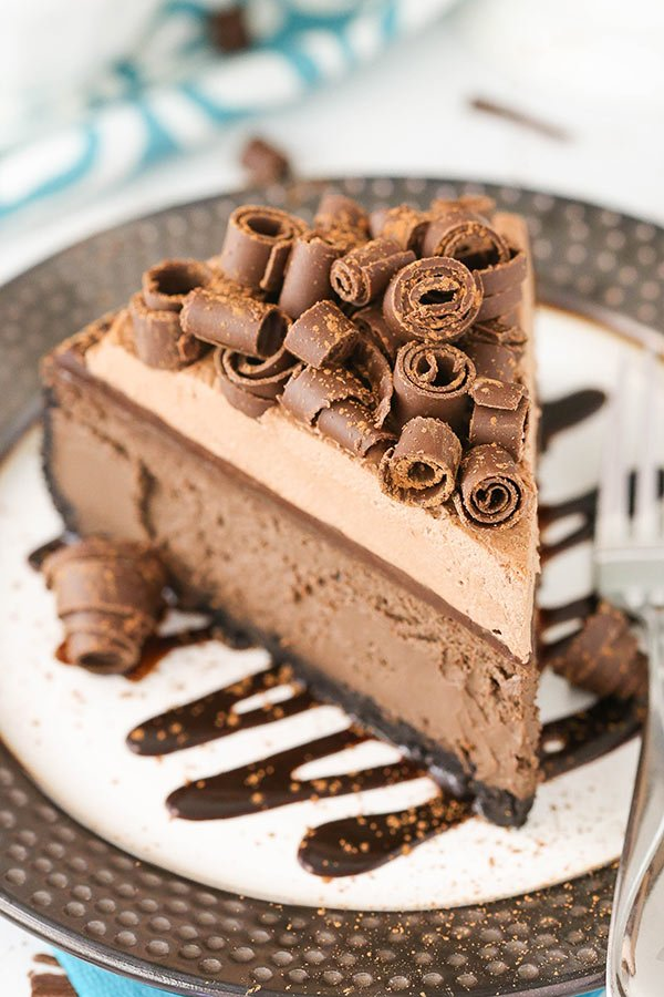 Chocolate Cheesecake! Full of chocolate flavor and topped with chocolate ganache and chocolate whipped cream! So good!