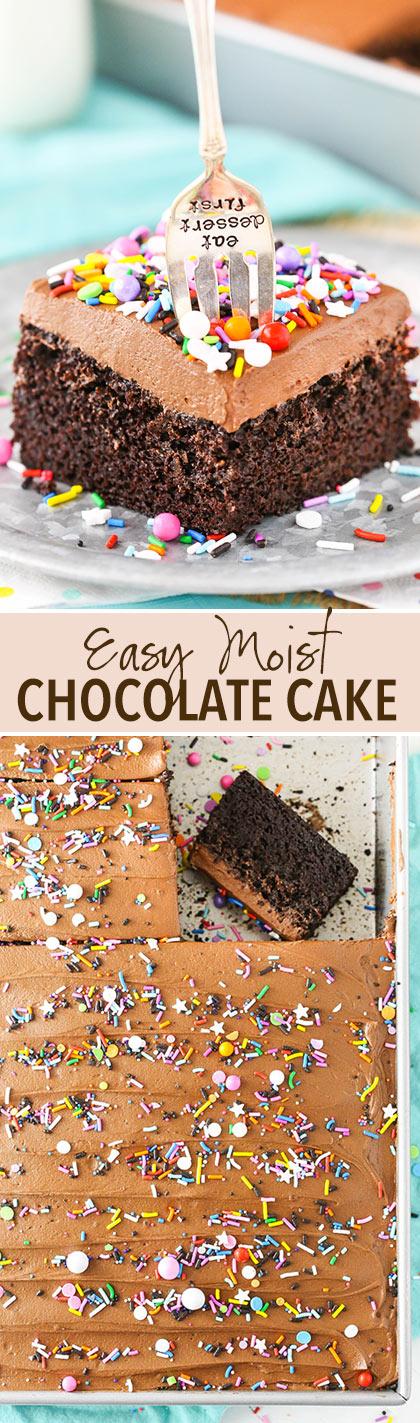 Easy Moist Chocolate Cake! So good!