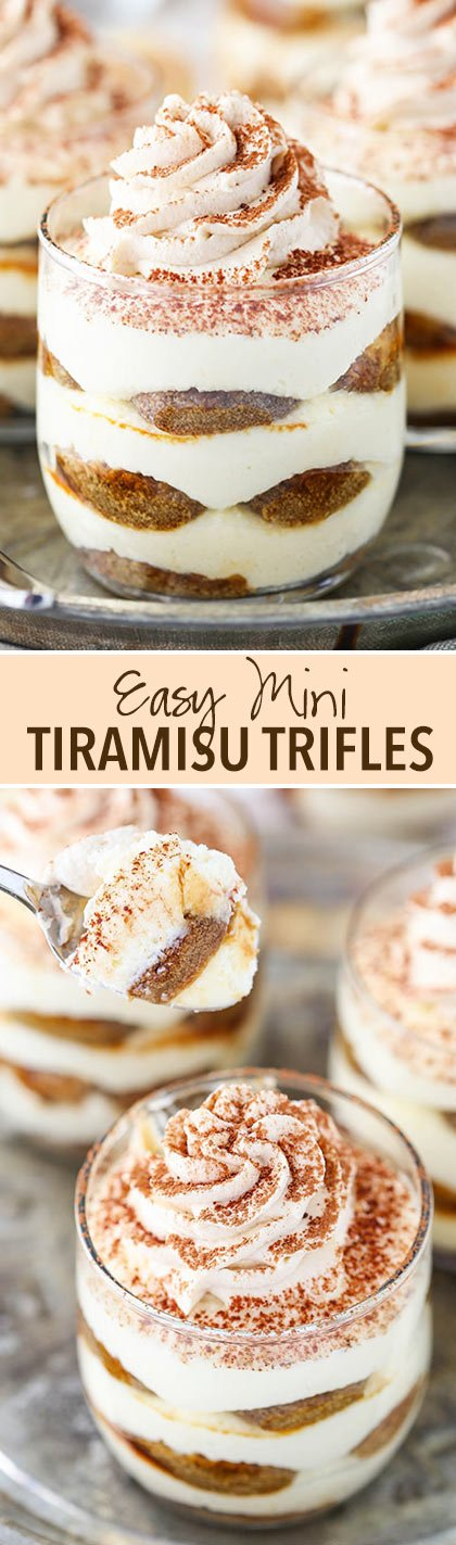 Mini Tiramisu Trifles - layers of mascarpone filling, ladyfingers and espresso! No bake and delicious!