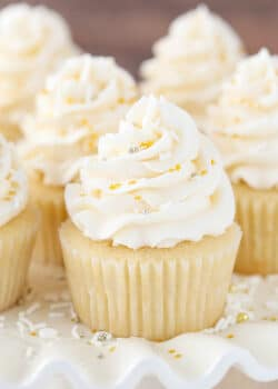 image of Easy Moist Vanilla Cupcakes close up