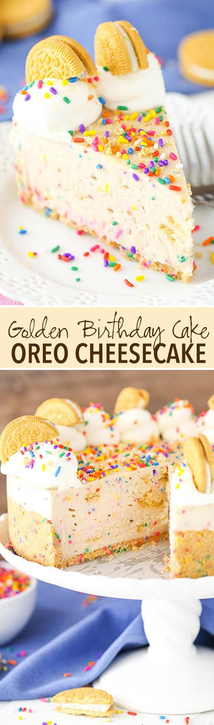 No Bake Golden Birthday Cake Oreo Cheesecake Life Love and Sugar