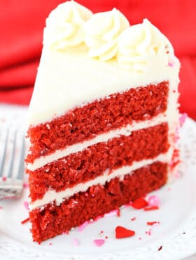 slice of Red Velvet Layer Cake with Cream Cheese Frosting