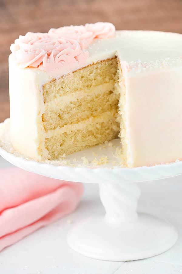 Homemade Rose Water Vanilla Layer Cake