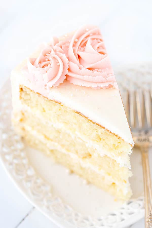 Rose Water Vanilla Layer Cake slice