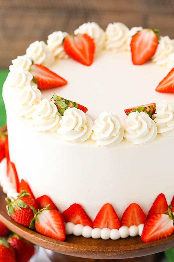 Strawberries and Cream Cheesecake Cake - Life Love and Sugar