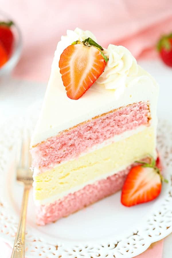 Strawberry Cake With Cream Cheese Filling Recipe