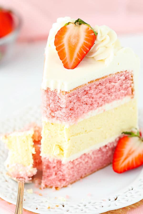 Cheesecake Cake - strawberry cake, vanilla cheesecake and cream cheese ...