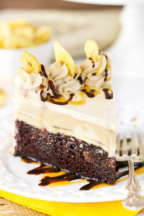 Banana Mocha Chocolate Ice Cream Cake - moist chocolate cake with bananas foster and cold brew ENLIGHTENED ice cream! So good!