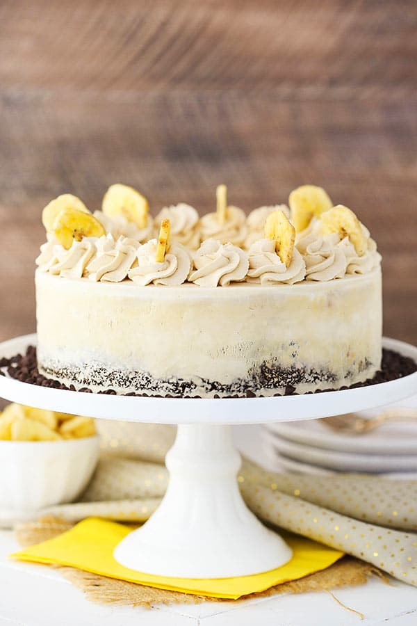 Banana Mocha Chocolate Ice Cream Cake decorated