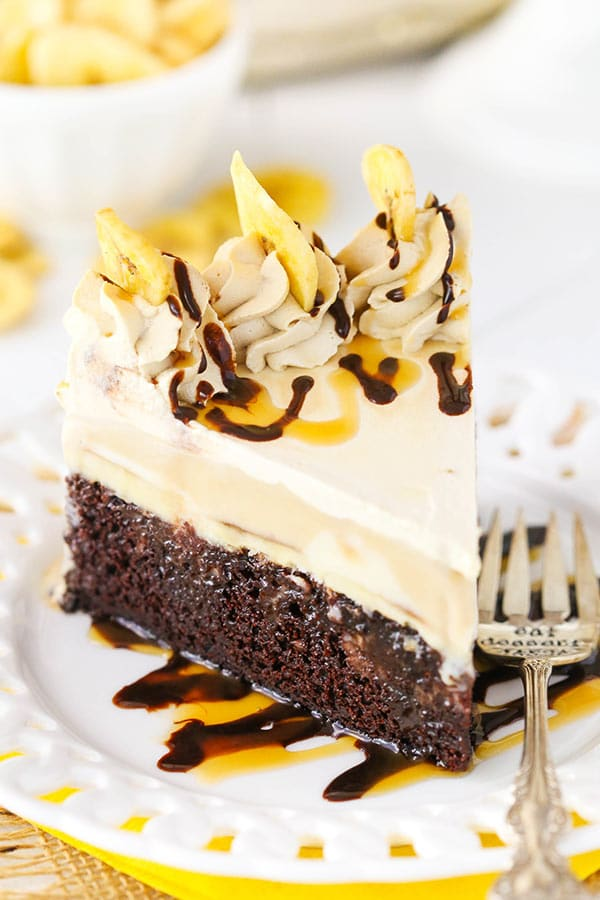 Banana Mocha Chocolate Ice Cream Cake - moist chocolate cake with bananas foster and cold brew ice cream! So good!