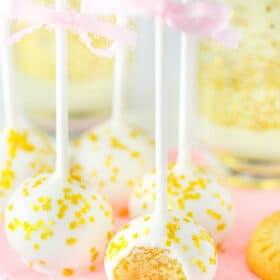 Champagne Cookie Pops with bite taken out