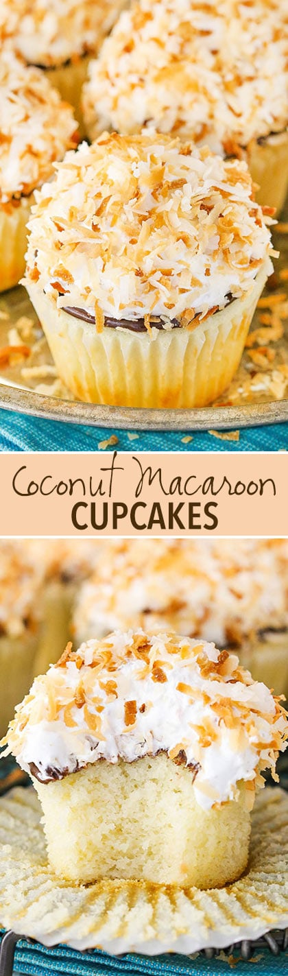 Coconut Macaroon Cupcakes! Full of coconut flavor with a coconut meringue frosting! So good!