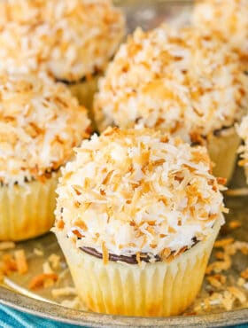 close up image of Coconut Macaroon Cupcakes on tray