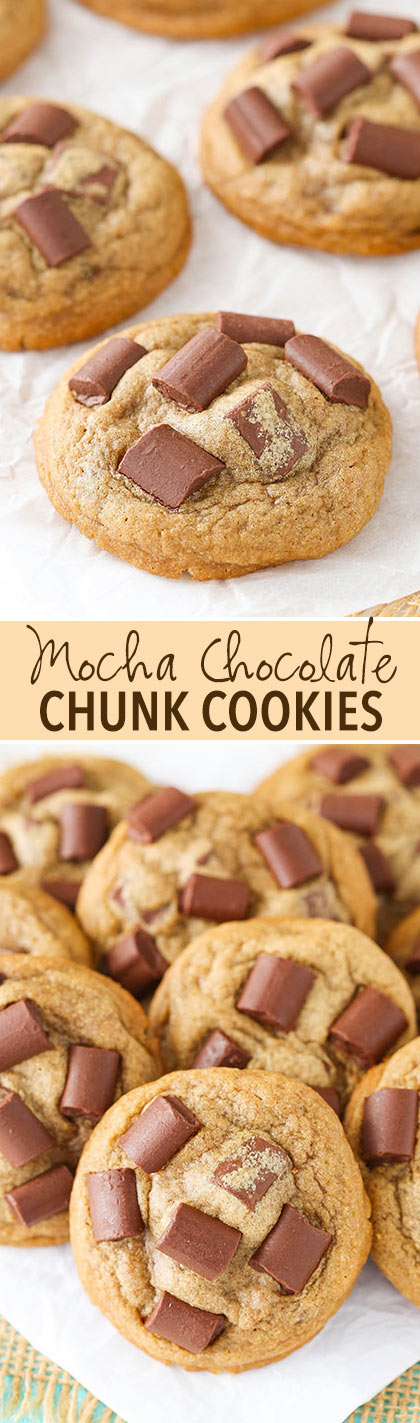 Mocha Chocolate Chunk Cookies - soft, chewy, with just the right ...