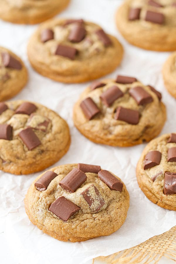 Mocha Chocolate Chunk Cookies - soft, chewy, with just the right amount of coffee flavor and chunks of chocolate!